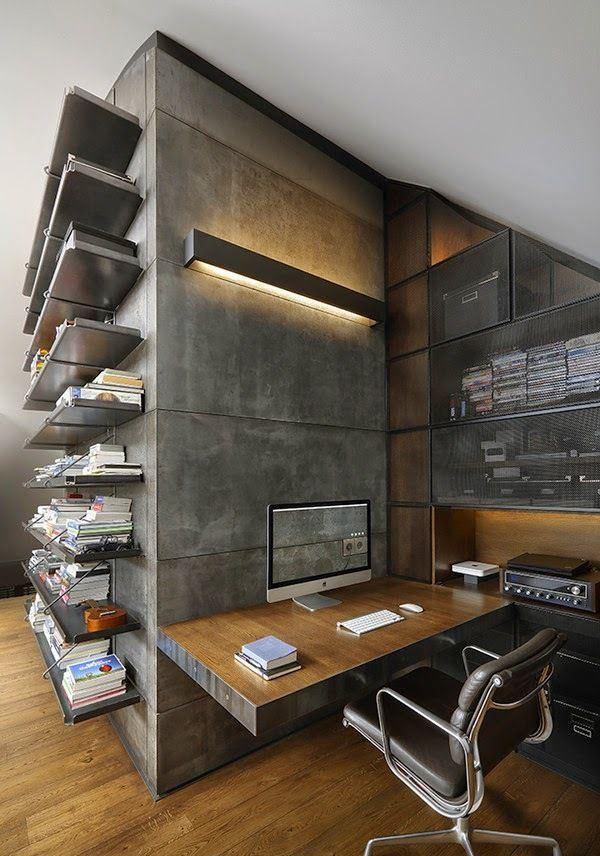 Concreto e madeira para um home office industrial.