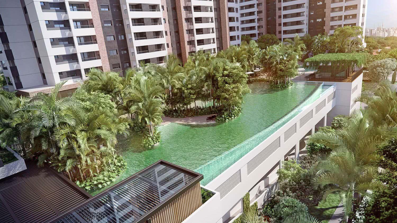 Prédio residencial com piscina de boda infinita