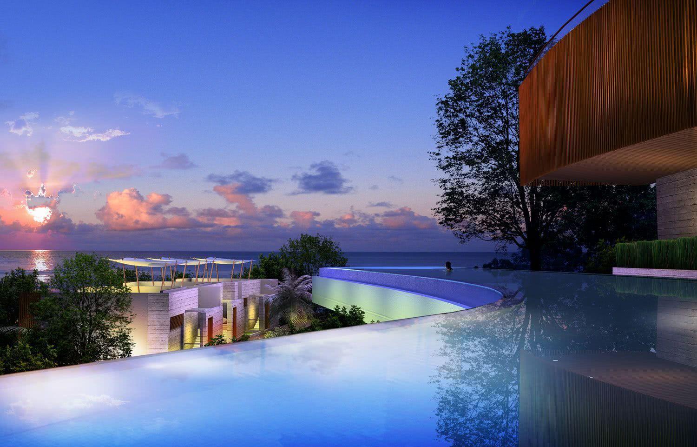 As curvas da piscina permitem apreciar a vista por diversos ângulos.