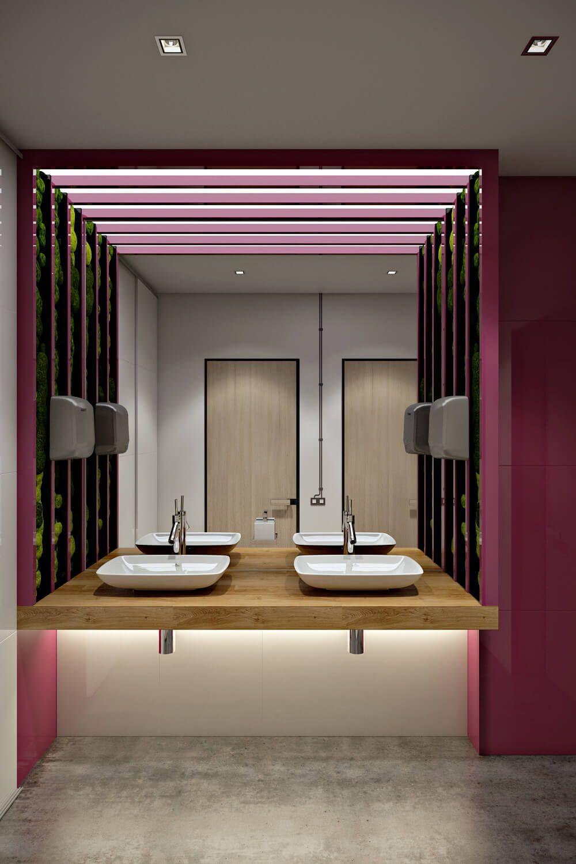 O pórtico criou um efeito incrível para o banheiro.