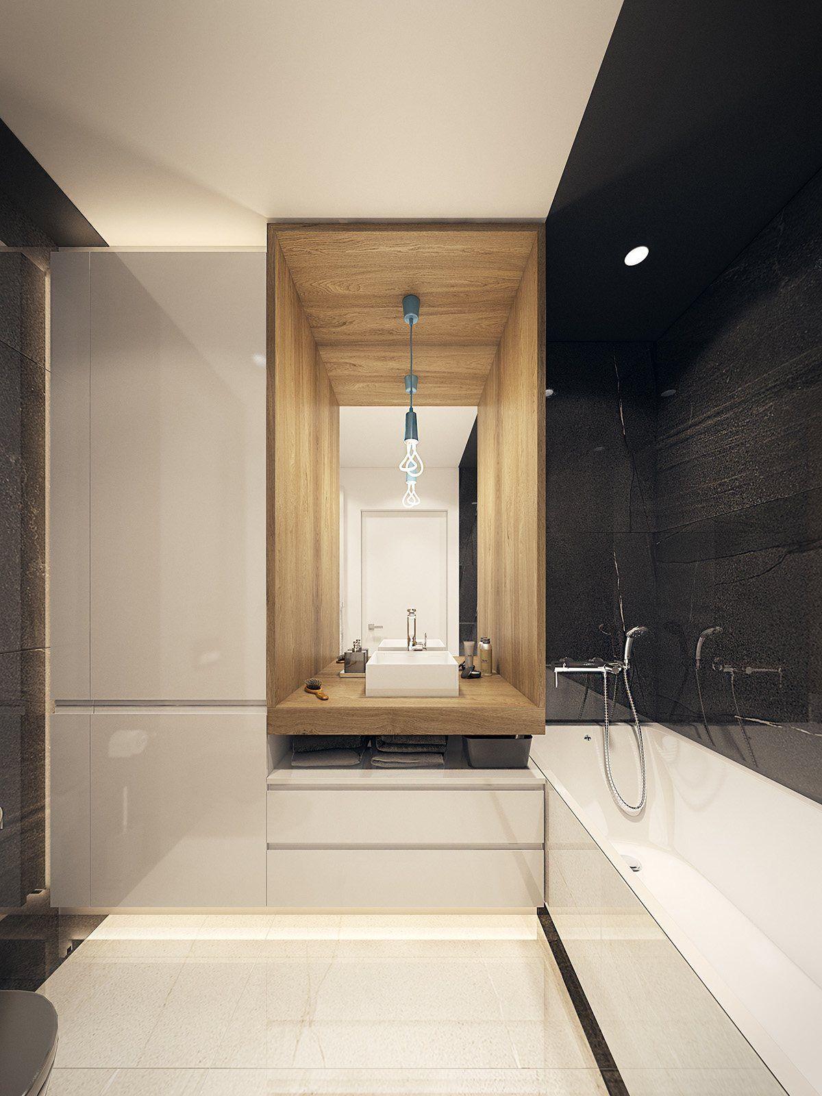Destaque cada função do banheiro criando nichos locais.