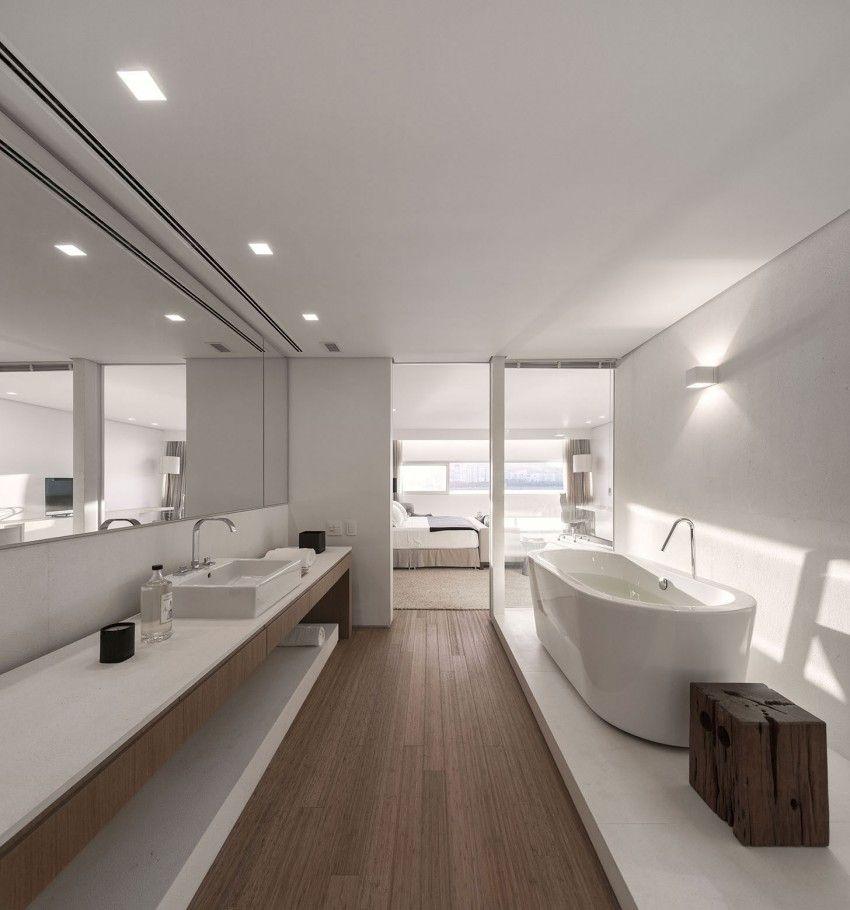 Integração entre banheiro e o quarto.