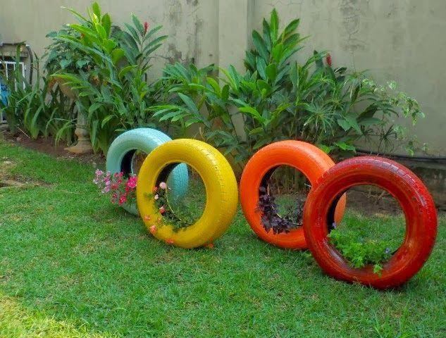 horta e jardim em pneus : horta e jardim em pneus:50 Jardins com Pneus – Fotos Lindas e Inspiradoras