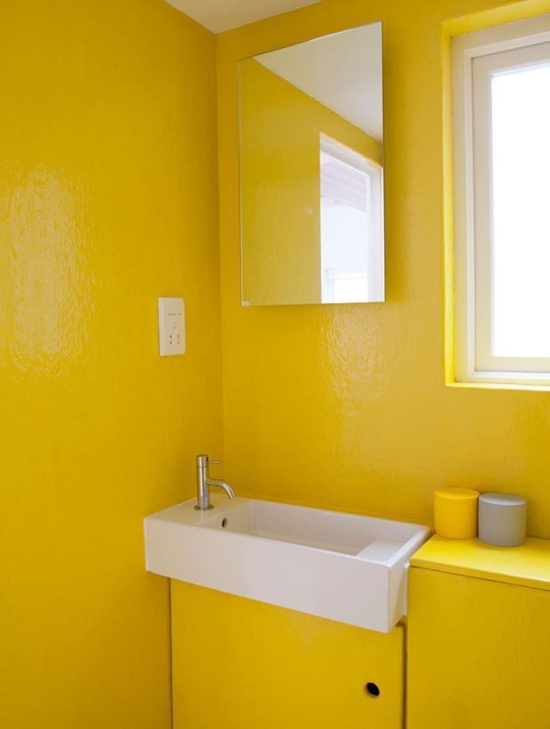 60 Banheiros Amarelos Decorados  Fotos Lindas! -> Cuba Para Banheiro Amarela