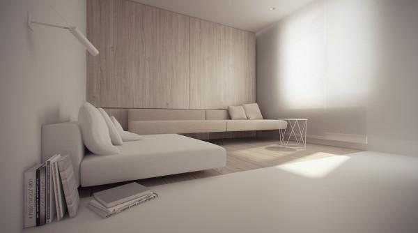 Sala De Estar Minimalista Moderno ~ Imagem 55 – Quarto de casal com parede em madeira ripada
