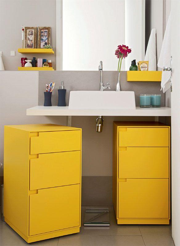60 Banheiros Amarelos Decorados  Fotos Lindas! -> Banheiro Pequeno Pintado