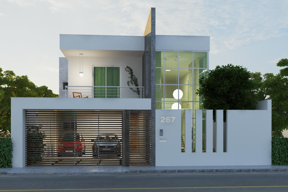 60 modelos de muros residenciais fachadas fotos e dicas for Modelos de casas medianas