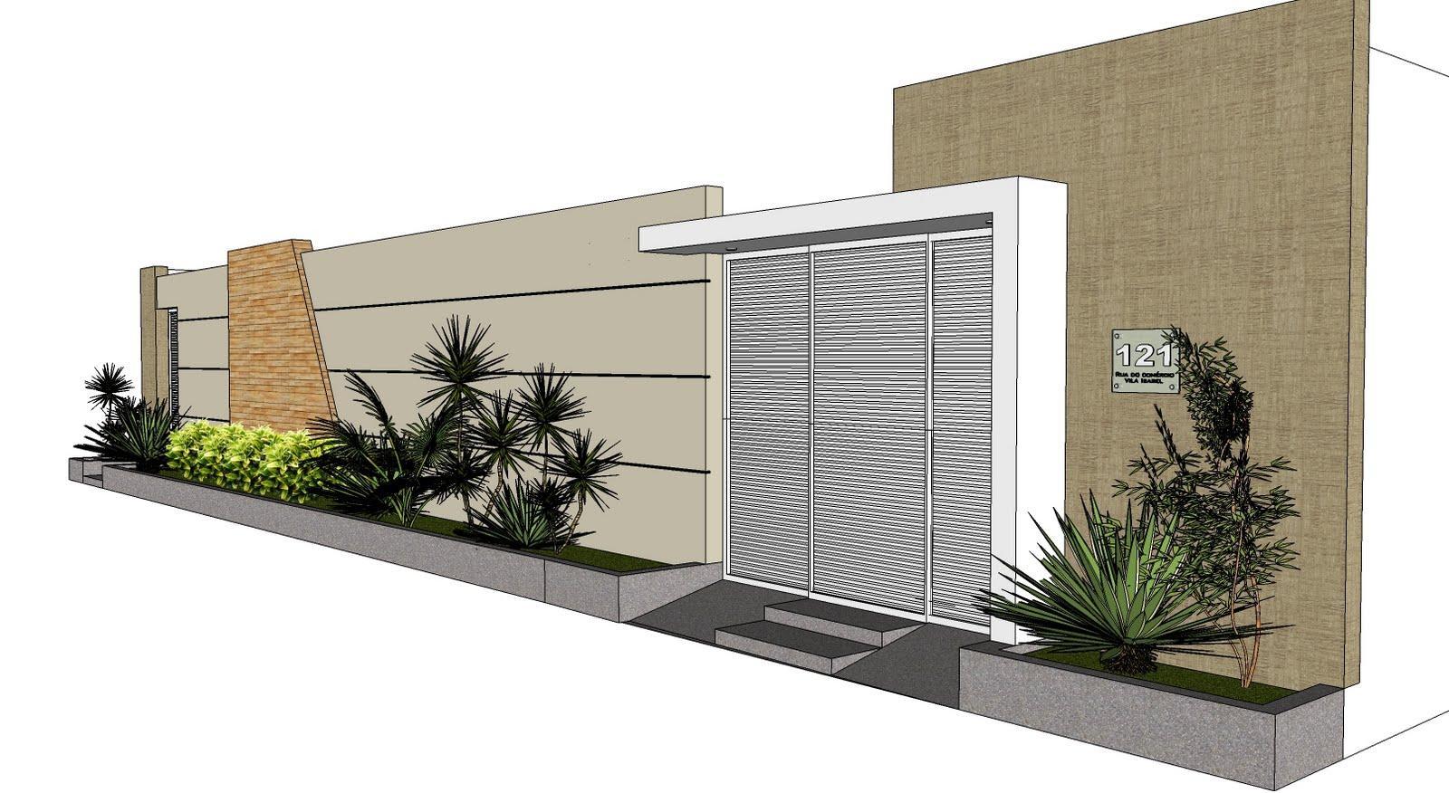 60 modelos de muros residenciais fachadas fotos e dicas for Fachadas de almacenes modernos