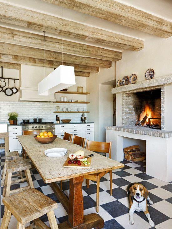 decoracao cozinha piso xadrez:Imagem 26 – Cozinha com um ar despojado