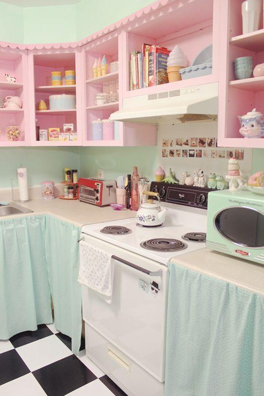 Tons claros deixou a cozinha com um ar romântico