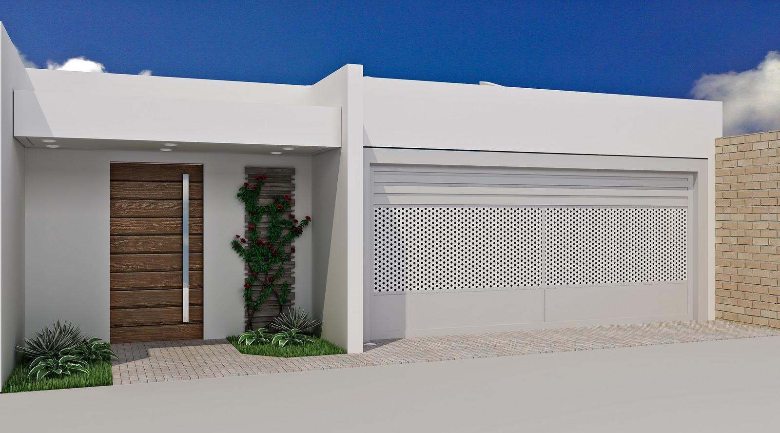 60 modelos de muros residenciais fachadas fotos e dicas for Casa moderna 7x15