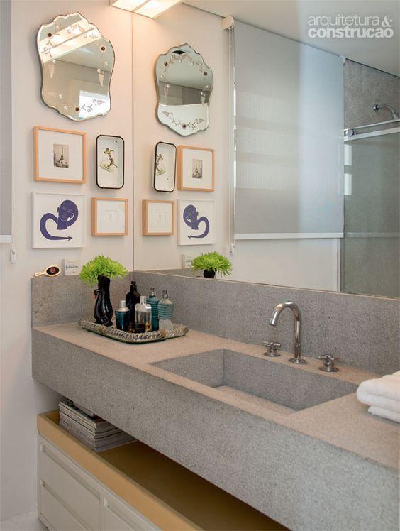 Pia Banheiro Cinza - 60 Bancadas com Cubas e Pias Esculpidas  Fotos