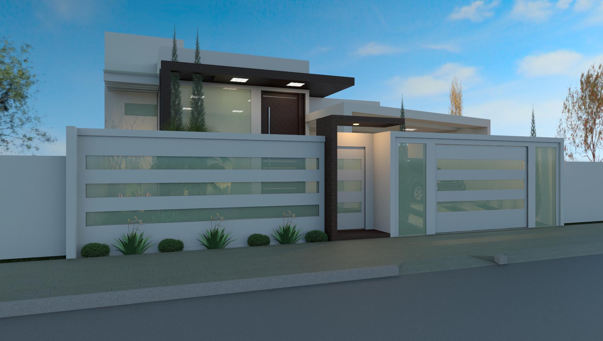 60 modelos de muros residenciais fachadas fotos e dicas - Tipos de fachadas de casas ...