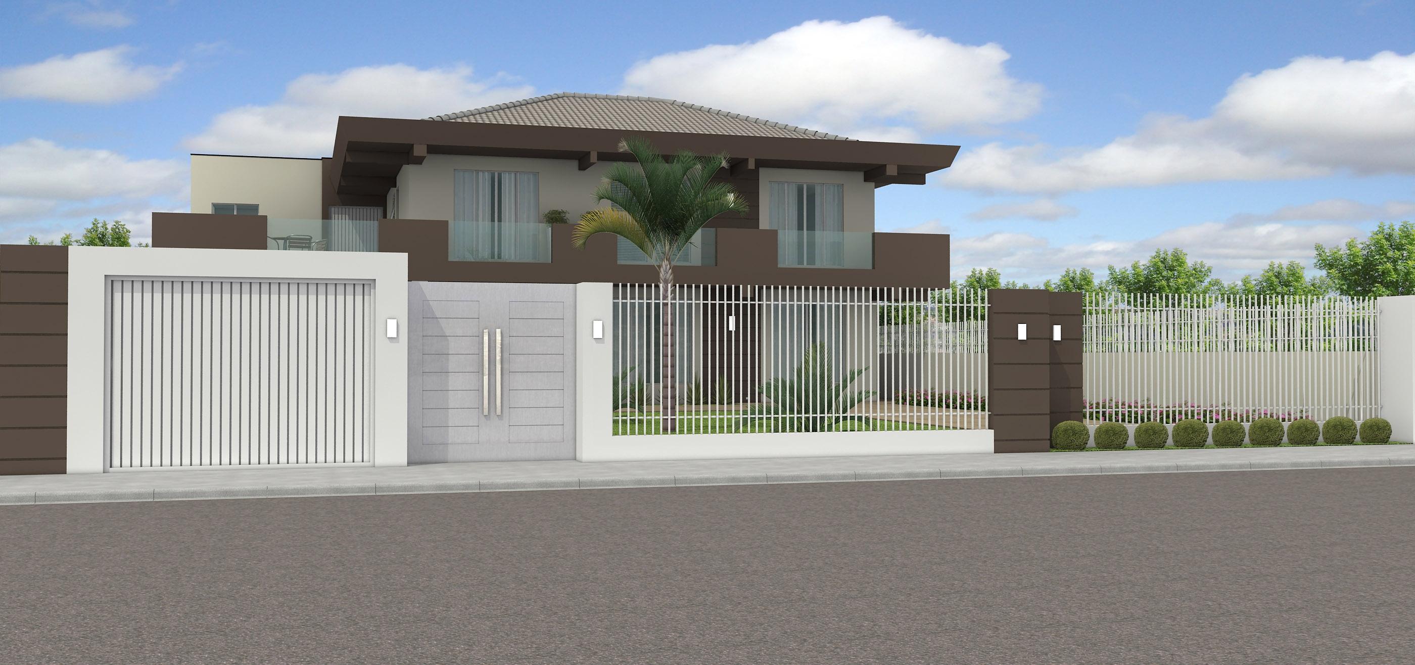 60 modelos de muros residenciais fachadas fotos e dicas for Modelos de casas grandes