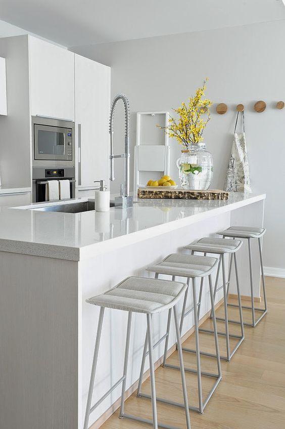 Cozinha branca descubra 70 ideias com fotos inspiradoras - Banquetas para cocina ...