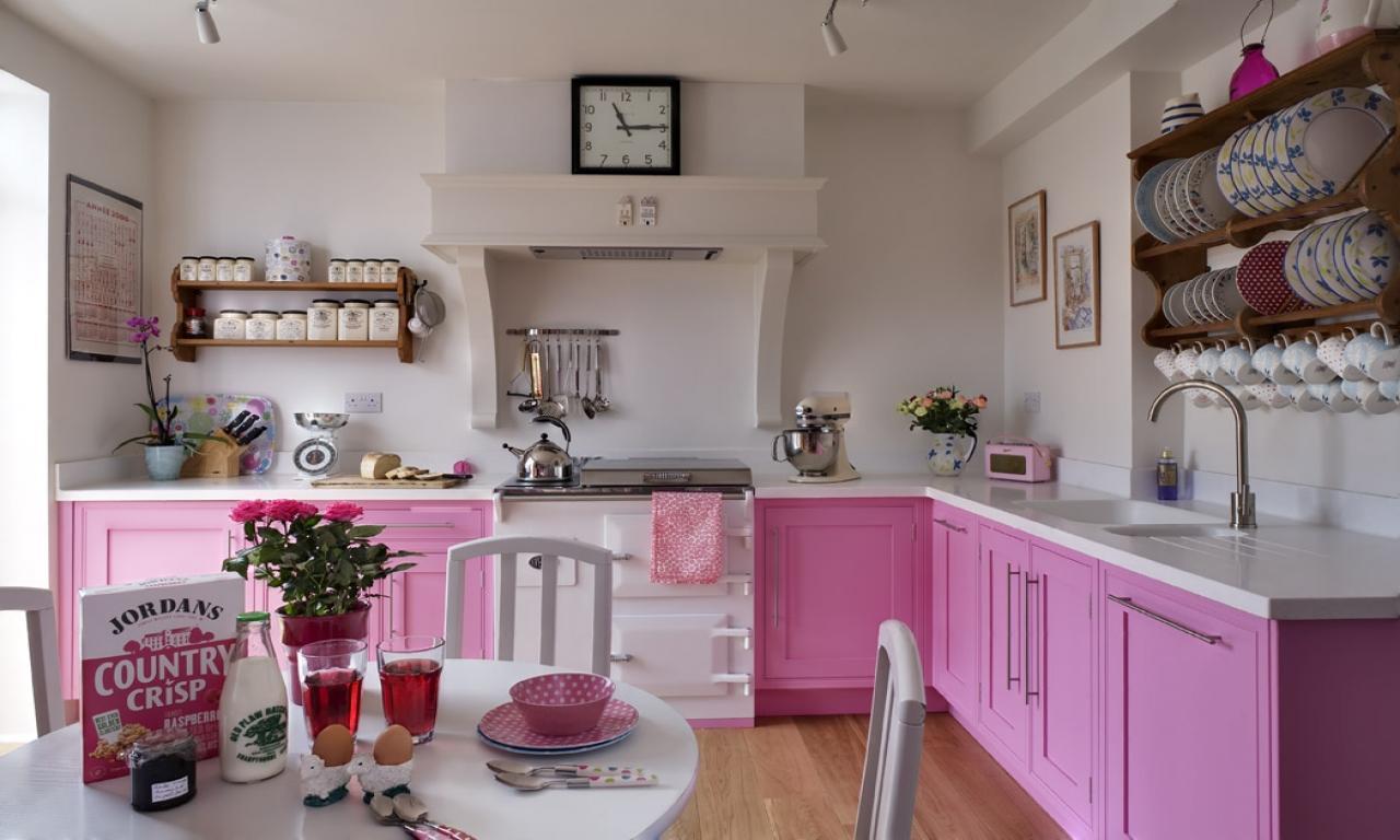 60 Cozinhas Rosas Decoradas Fotos Incr Veis -> Cozinha Americana Com Sala Como Fazer Em Um Comodo