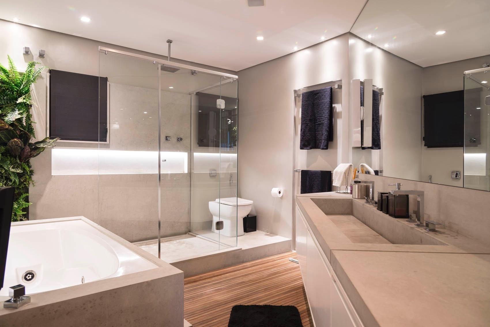 Imagem 59 – A pia longa é ideal para um banheiro compartilhado #456425 1700 1134