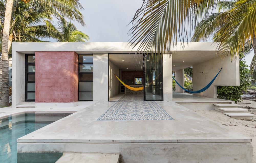 Fundo de casa com estilo de praia
