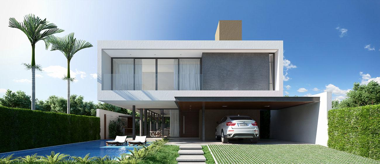 Casa bonita e moderna com piscina na fachada: ideal para condomínios