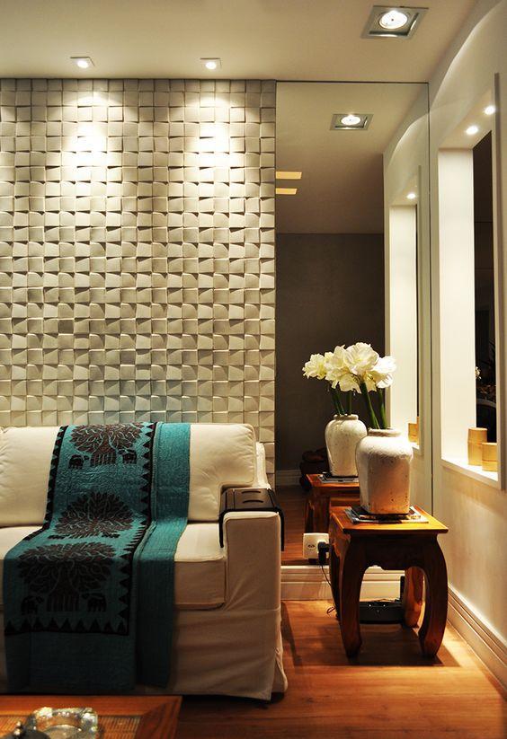 Gesso Pra Sala De Tv ~ Imagem 11 – Painel de gesso e forro de madeira