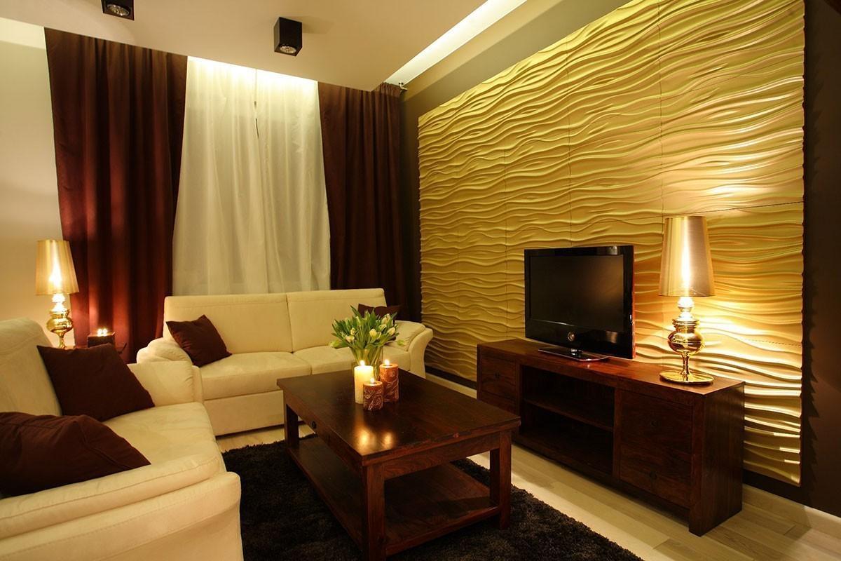 #B19A1A Imagem 13 – Cabeceira e parede da cama com trabalho de gesso 3D 1200x800 píxeis em Acabamento Em Gesso Para Sala De Estar