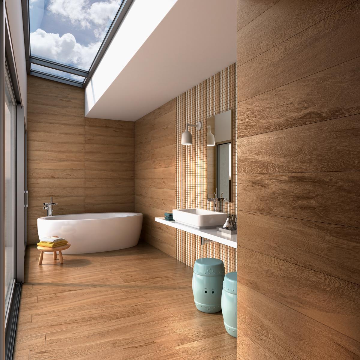 Imagem 17 – Churrasqueira com piso combinando com alguns detalhes da  #91673A 1200x1200 Banheiro Com Amadeirado