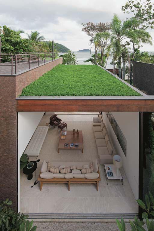 Projeto sustentável com telhado verde