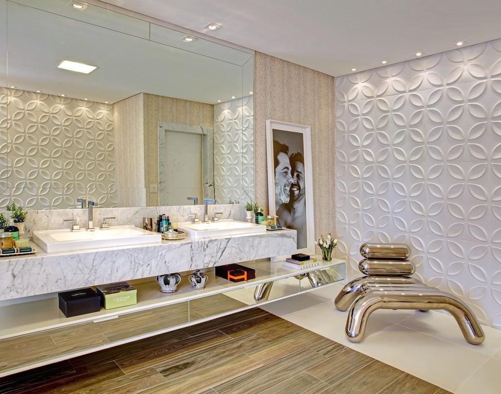 Pisos que Imitam Madeira: 60 Fotos e Ideias #301F13 1024x805 Banheiro Com Porcelanato De Madeira