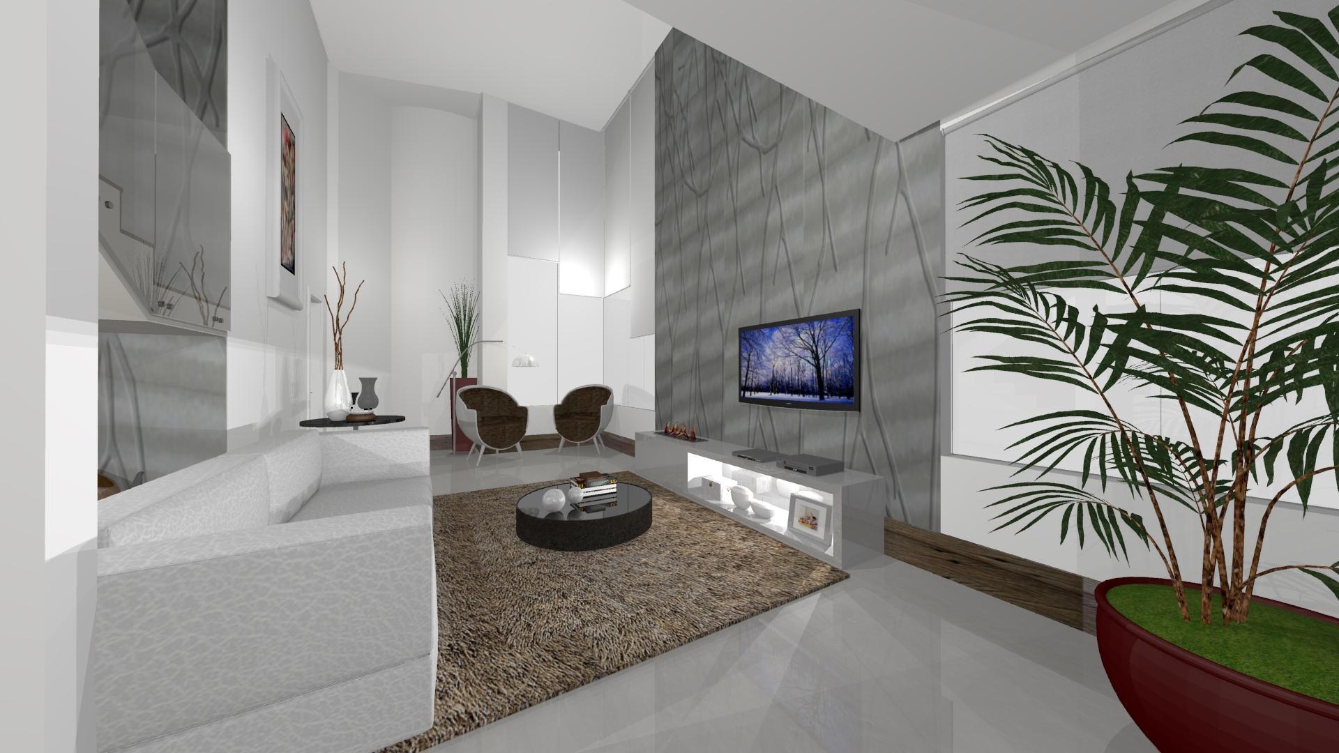 Painel Para Tv De Gesso Casa Decorada Com Sanca Aberta Em Gesso E  -> Estante Gesso Sala Tv