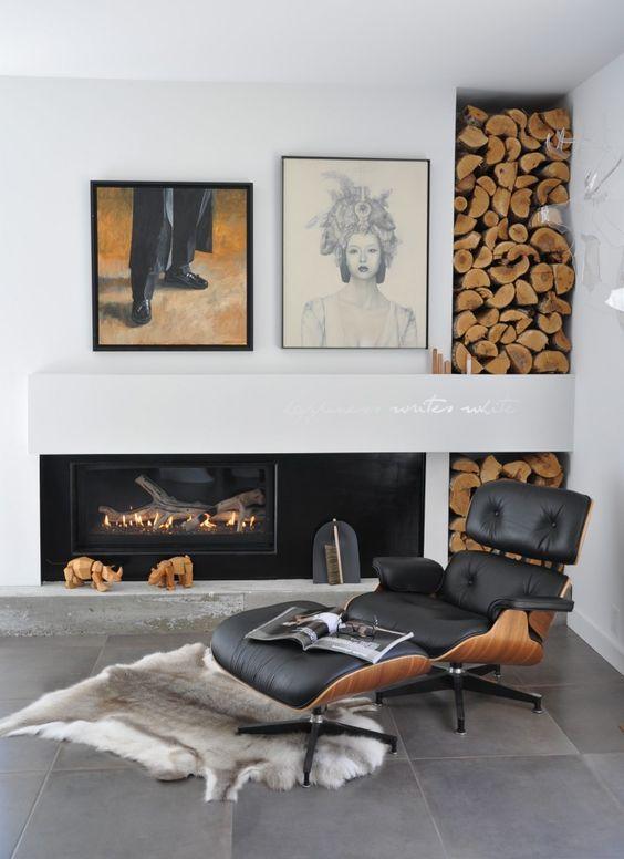 Ambientes com lareira pedem uma poltrona confortável