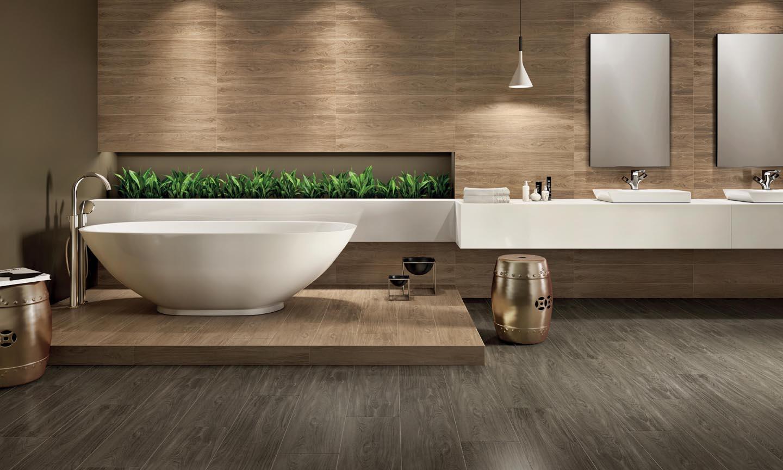 para combinar com a tonalidade do piso em porcelanato amadeirado #638E3D 1440x864 Banheiro Com Porcelanato Cimento