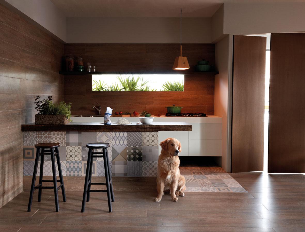 Imagem 58 – Cozinha com ladrilhos para combinar com a tonalidade do  #955536 1181x898 Banheiro Cimento Queimado E Pastilhas