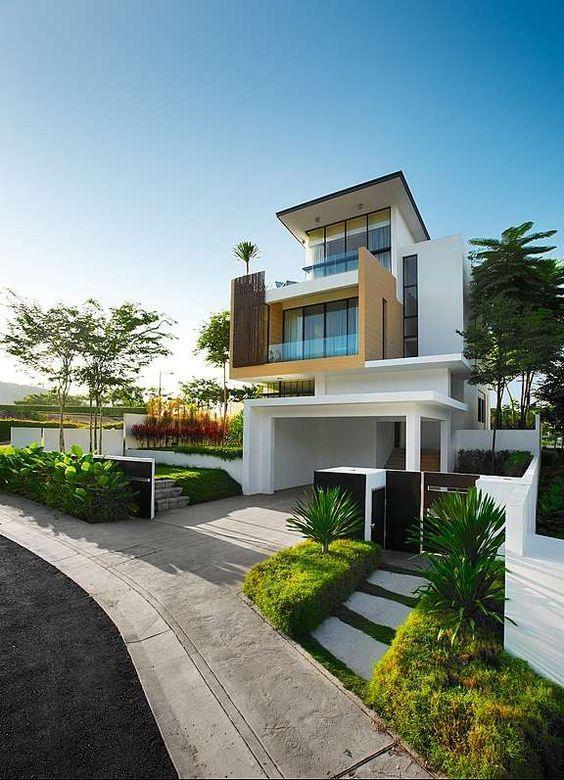 Ouse a arquitetura da casa com jogo de volumes e formas
