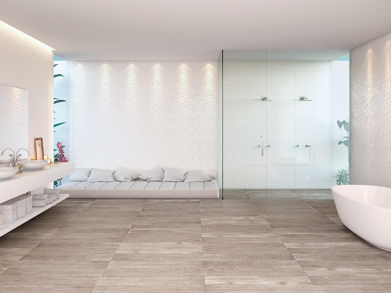 Imagem 56 – Porcelanato amadeirado para esse cantinho aconchegante! #3C7874 1280x960 Banheiro Com Porcelanato Cimento