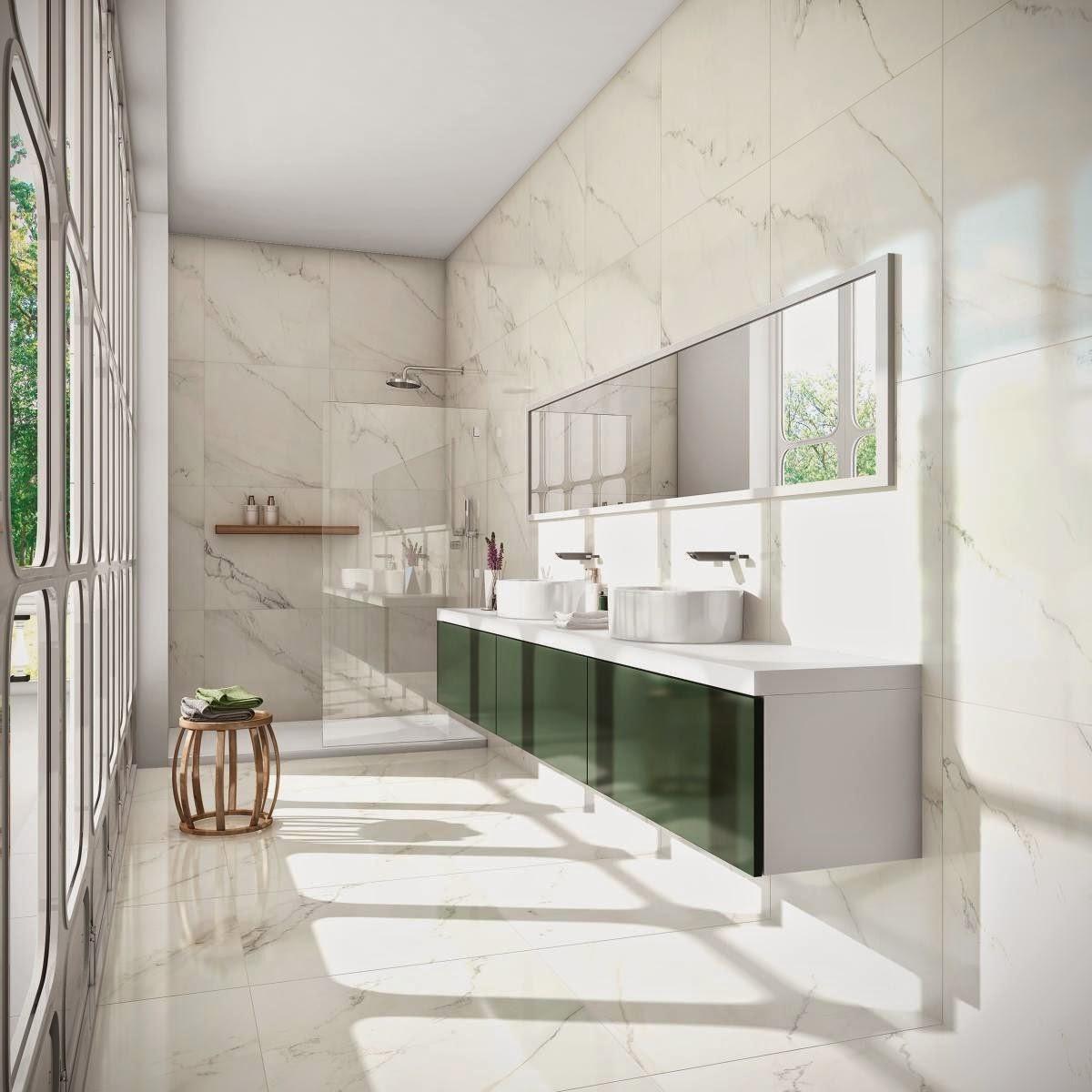 Imagem 58 – Revestindo as superfícies com porcelanato #4E7C5B 1200x1200 Banheiro Com Porcelanato Concreto