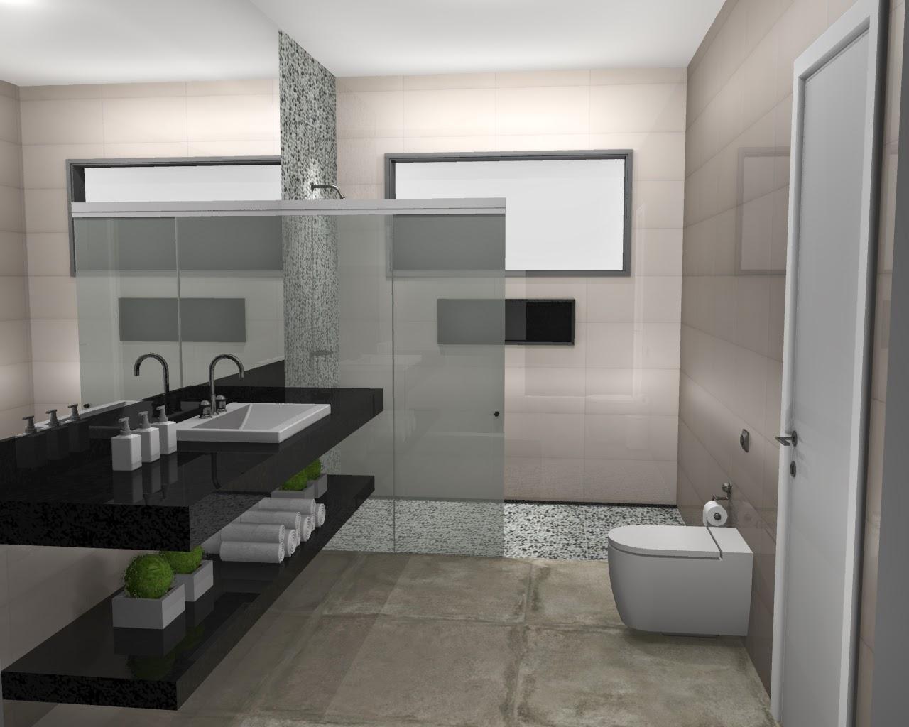 Imagem 10 – Revestindo o banheiro com porcelanato esmaltado #70645B 1280x1024 Banheiro Com Porcelanato Cimento Queimado