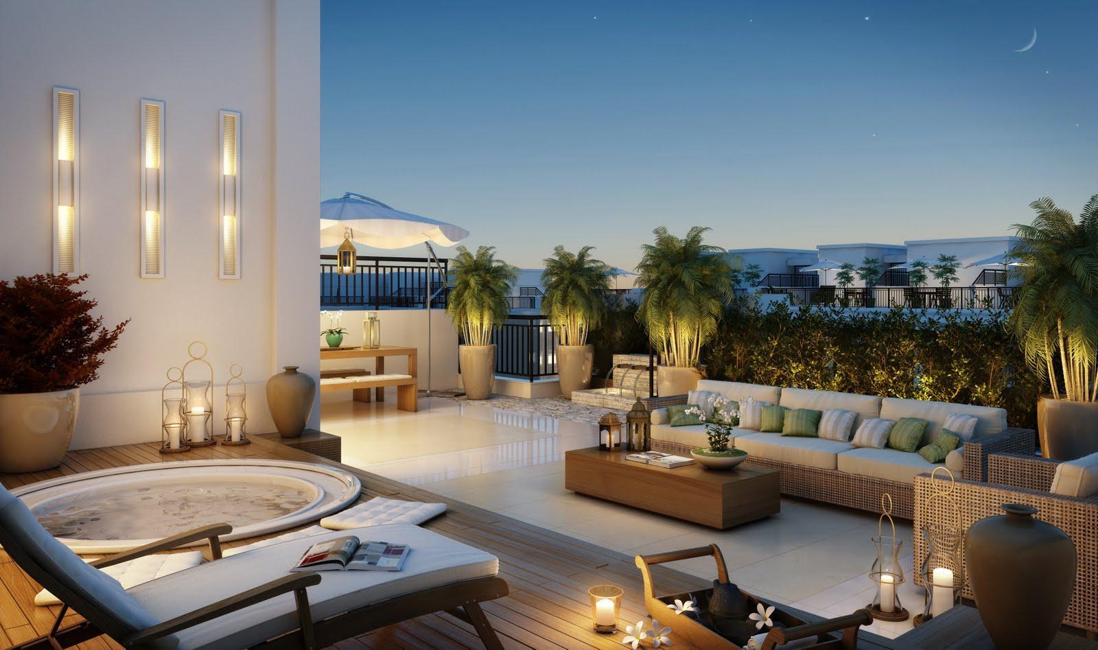 #3E688D Imagem 13 – O terraço conta com uma cobertura moderna e divisória  1600x948 píxeis em Casas Com Design