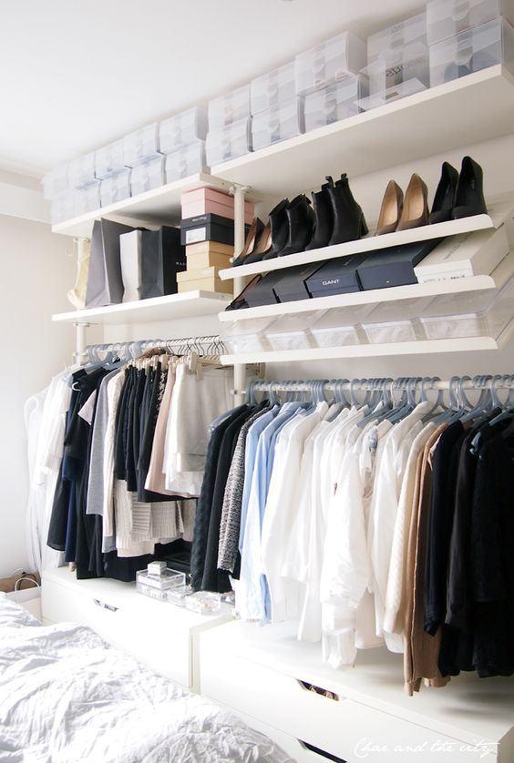 As caixas são ótimas para organizar o closet
