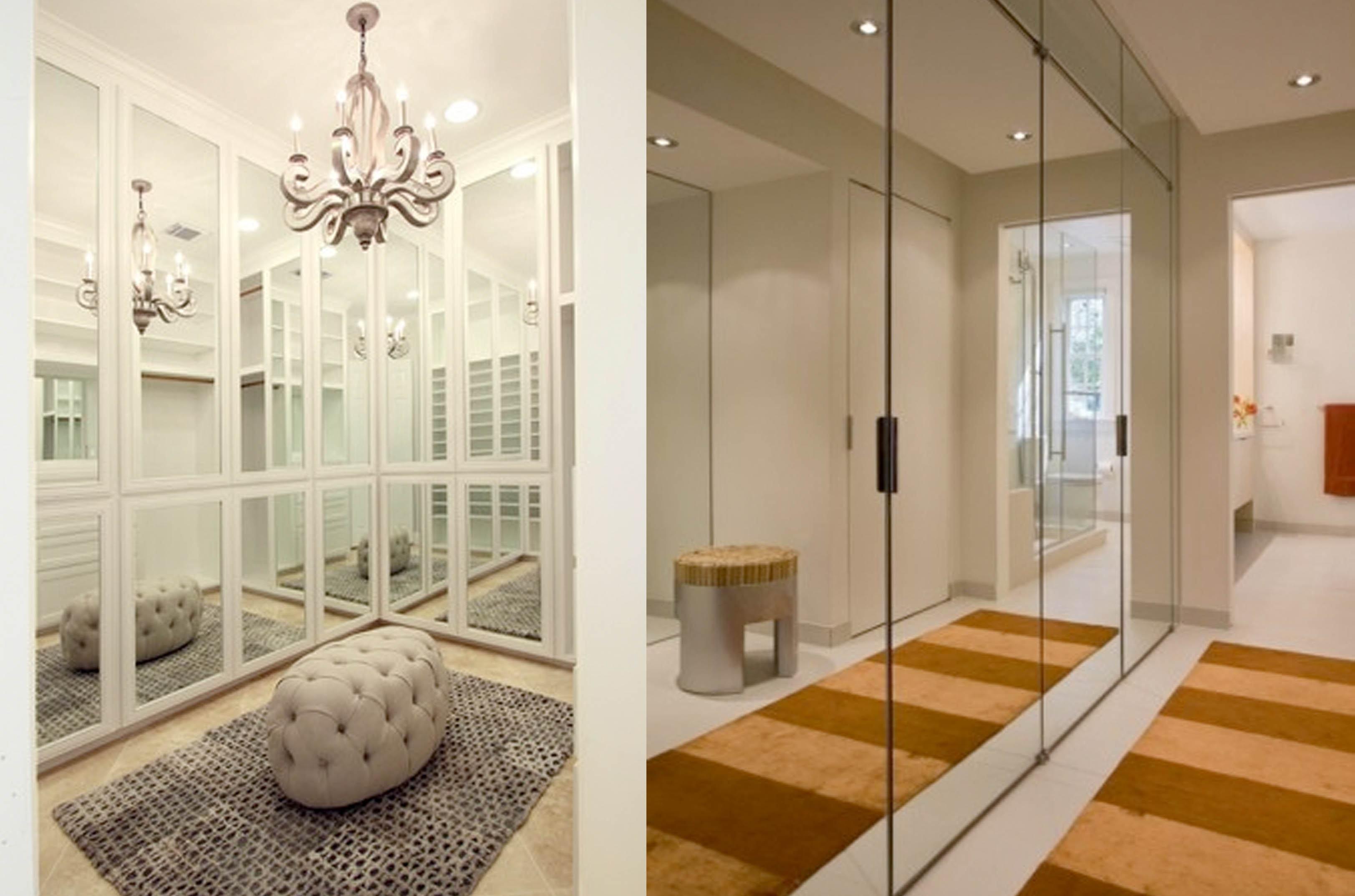 Revestir as portas do armário de espelho é uma ótima opção para deixar o ambiente clean e leve!