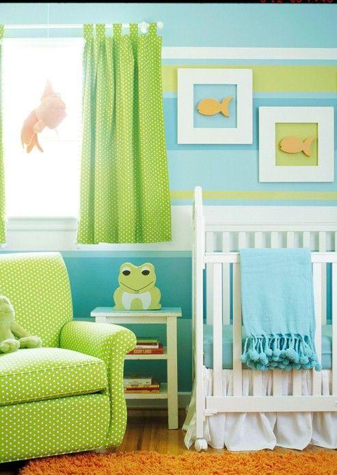 60 quartos de beb s verdes decorados fotos lindas for Pintura verde aguamarina