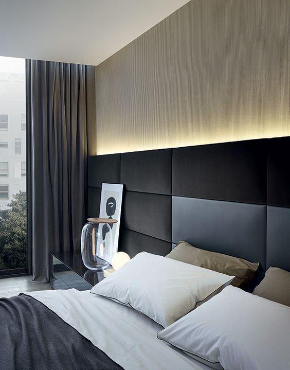 60 cabeceiras de cama estofadas modelos fotos for Quadros dormitorio