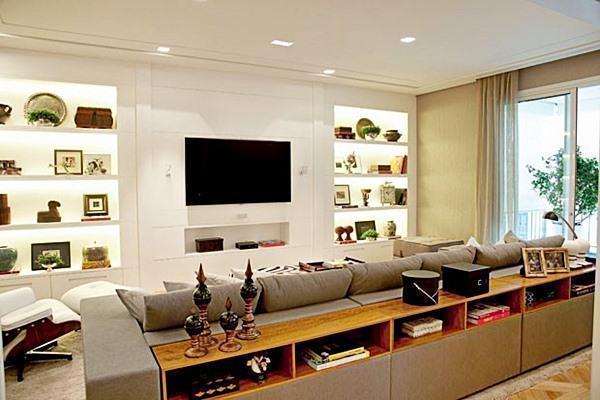 Sala Com Aparador Atras Do Sofa ~ Decoraç u00e3o Atrás do Sofá 60 Aparadores, Bancadas e