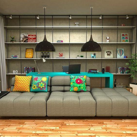 60 Salas Com Sofá Vermelho Incríveis: Decoração Atrás Do Sofá: 60 Aparadores, Bancadas E