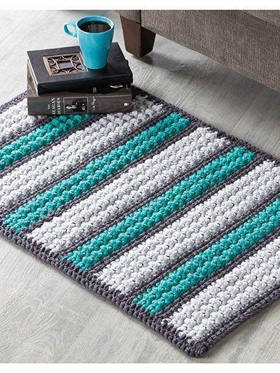 Tapete de crochê retangular com trêscores: verde, branco e cinza