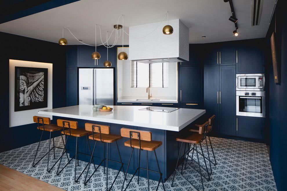 Cozinha azul navy