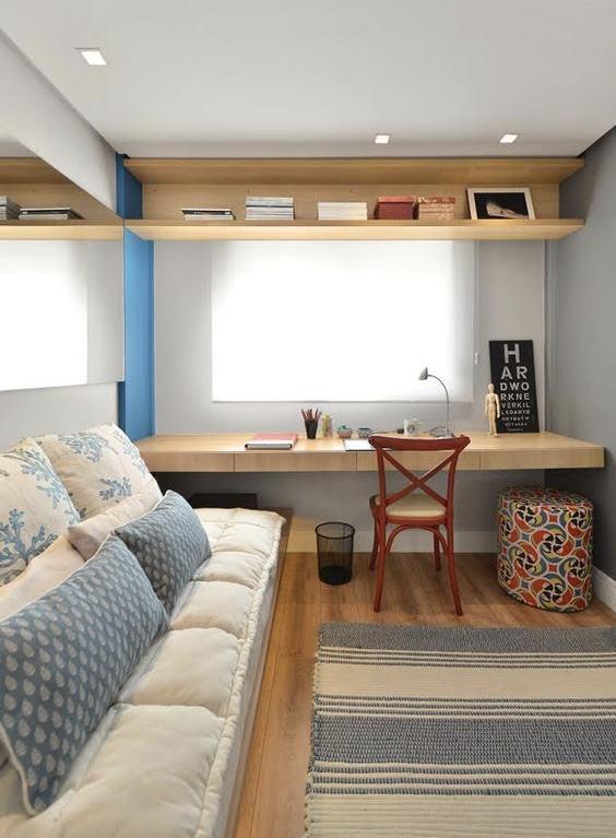 Otimize os espaços com a flexibilidade dos móveis no quarto de menina