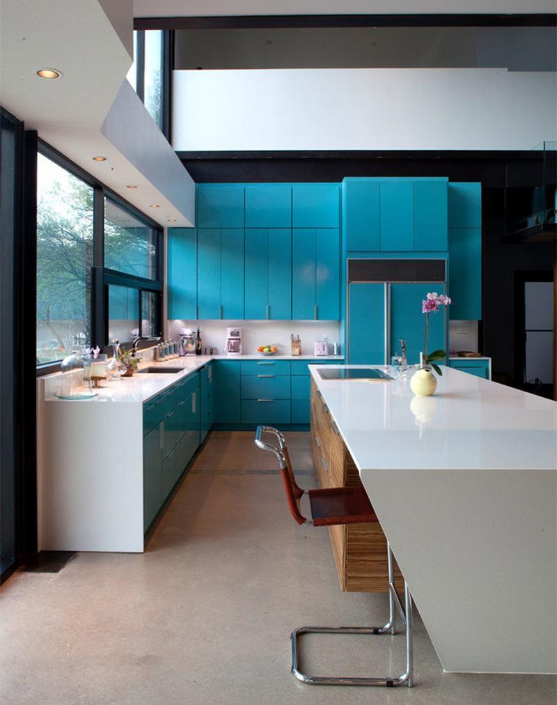 Cozinha azul 70 inspira es de decora o com a cor - Azul turquesa pared ...