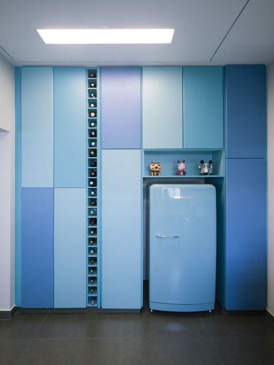 Cozinha azul: brinque com as tonalidades