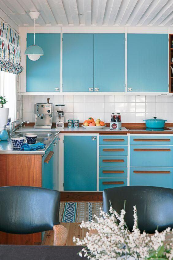 Cozinha azul: para quem ama um estilo retrô