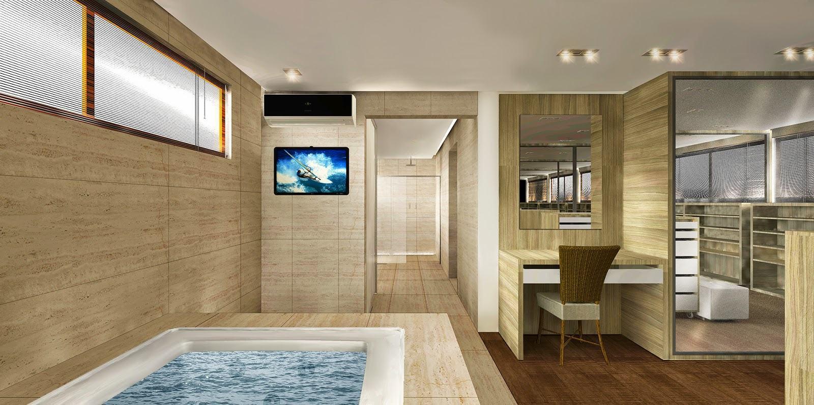 Imagem 40 – Deixe uma parte da bancada aberta para deixar com uma  #5F4528 1600x796 Banheiro Closet Integrados